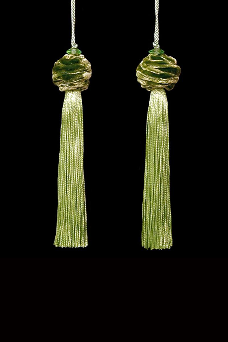 Venetia Studium Turbante couple of pale sage green key tassels