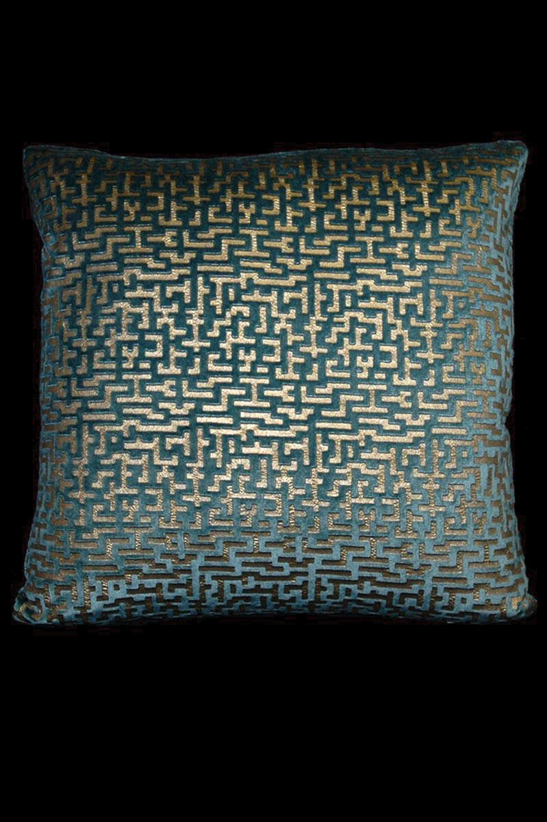 Venetia Studium Labirinto bedrucktes quadratisches Samtkissen in Blaugrün