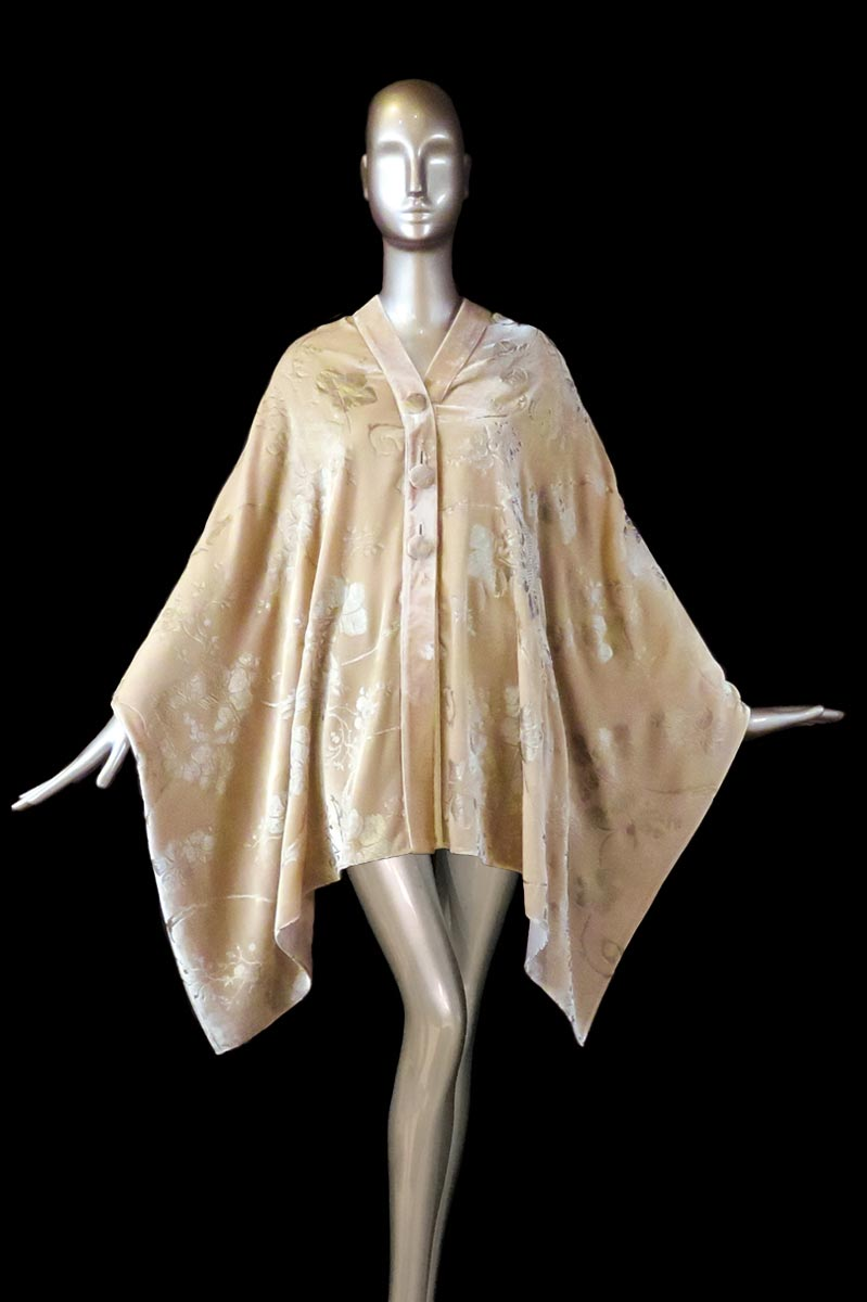 Fortuny powder printed velvet stole with buttons front
