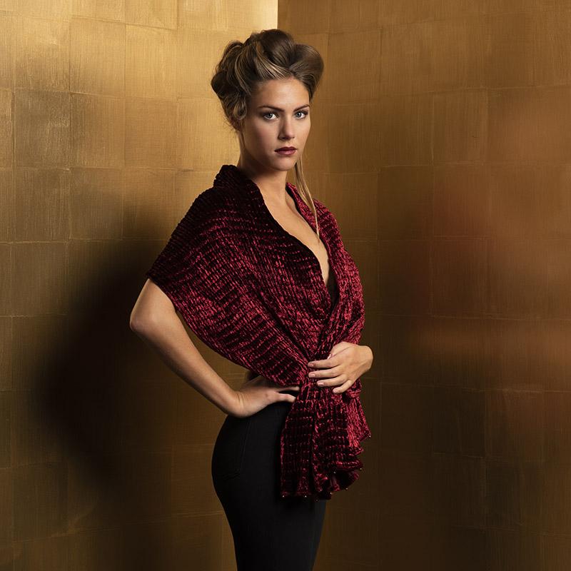 Fortuny pleated velvet scarves